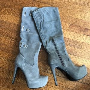 Knee High Grey Faux Suede Boots